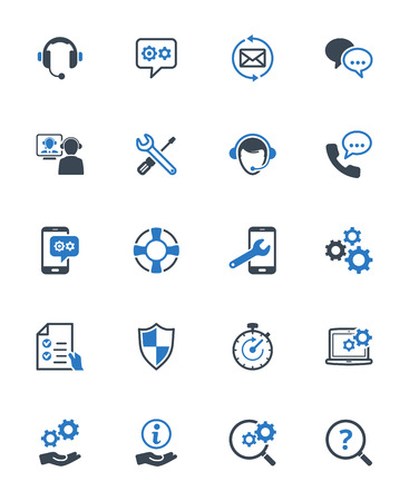 Technical Support Icons - Blue Series. Set of icons representing technical support services, customer assistance, customer service and support.