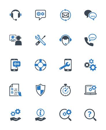 Technical Support Icons - Blue Series. Set van pictogrammen die technische ondersteuning, begeleiding voor de klant, customer service en ondersteuning. Stock Illustratie
