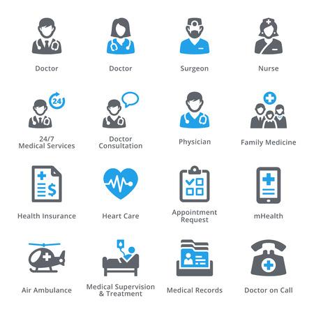 Médico de Atención sanitaria y set de iconos de 1 - Servicios | Serie sympa Ilustración de vector