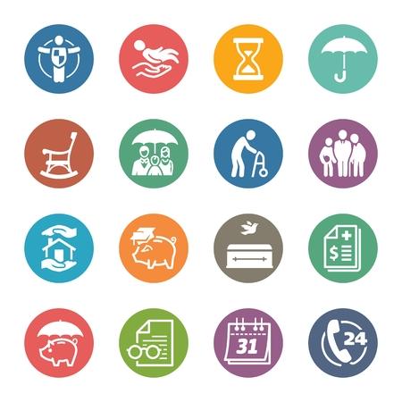pflegeversicherung: Life Insurance Icons - Farbige Serie