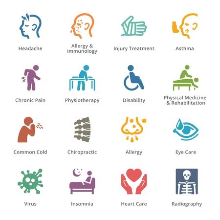 Gezondheid Lichamelijke condities & ziektes Icons - Gekleurde Series | sympa Vector Illustratie