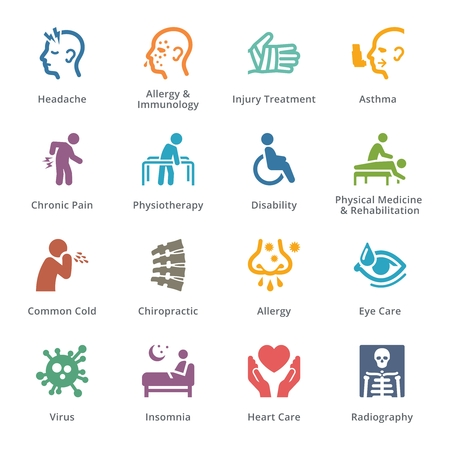 Health Conditions & Diseases Icons - Colored Series | Sympa 矢量图像