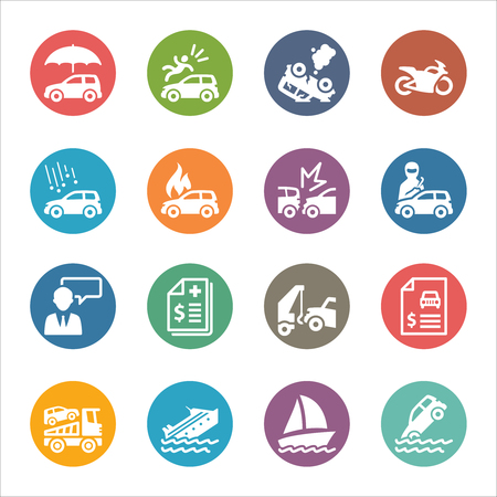 medical bill: Auto Insurance Icons - Dot Series