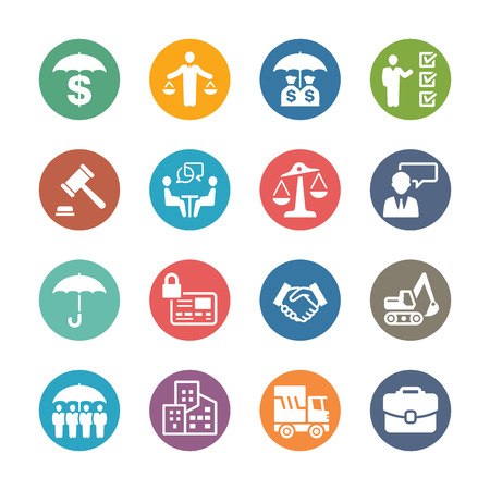 Business Insurance Icons - Dot Series 矢量图像