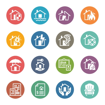 home insurance: Home Insurance Icons - Dot Series
