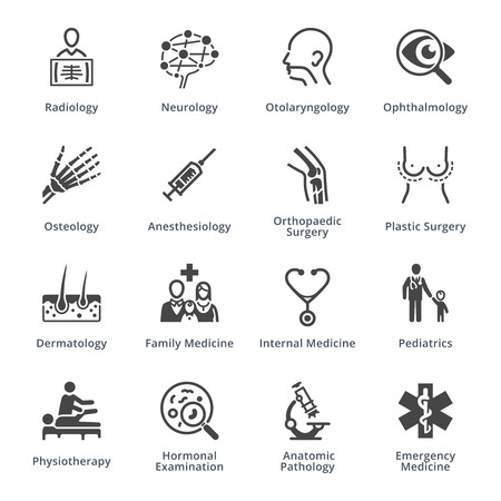 Medical Specialties Icons Set 3 - Black Series 免版税图像 - 59220642
