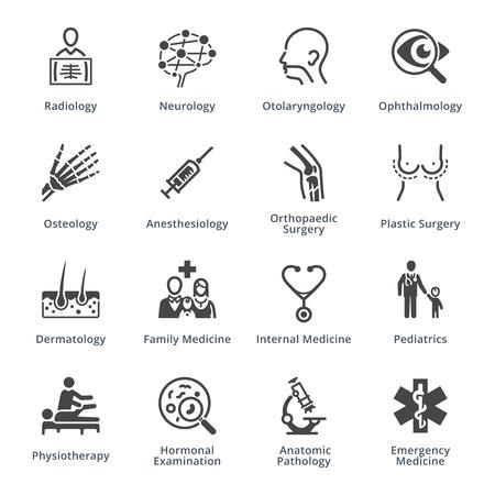 Specjalizacje medyczne zestaw ikon 3 - Black Series Ilustracje wektorowe
