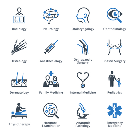 internal medicine: Medical Specialties Icons Set 3 - Blue Series