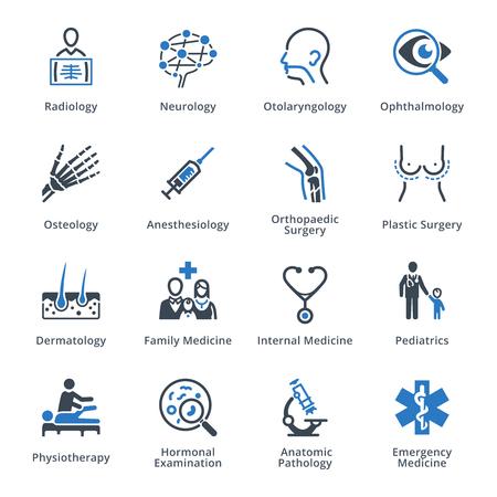 Specjalizacje medyczne zestaw ikon 3 - Blue Series