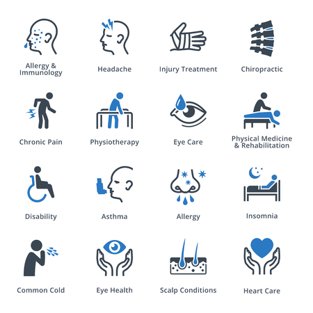 common cold: Health Conditions & Diseases Icons - Blue Series