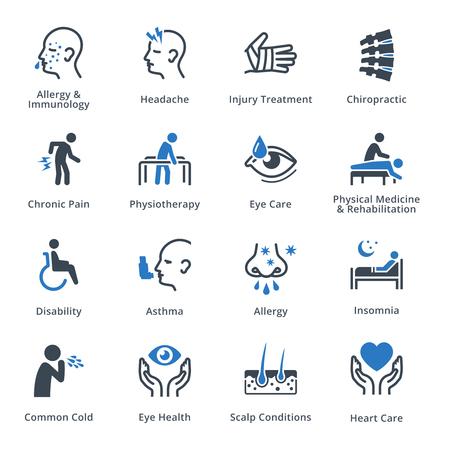 Warunków zdrowia i Choroby Icons - Blue Series Ilustracje wektorowe