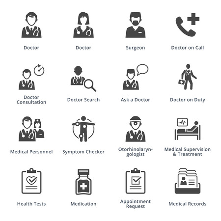 doctors and patient: Medical Services Icons Set 3 - Black Series Illustration