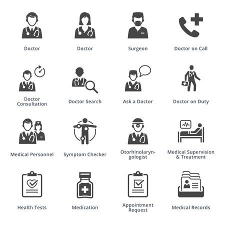 doctor visit: Medical Services Icons Set 3 - Black Series Illustration