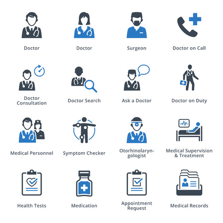 otorhinolaryngologist: Medical Services Icons Set 3 - Blue Series