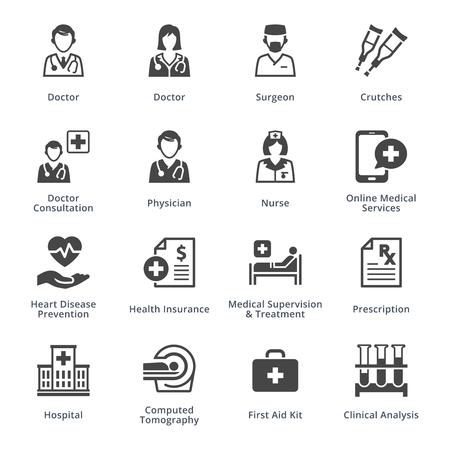 Medische diensten Icons Set 4 - Black Series Vector Illustratie