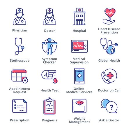 Medische & Gezondheidszorg Pictogrammen Set 1 - Outline Series