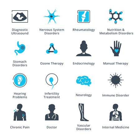 Health Conditions & Diseases Icons Vettoriali