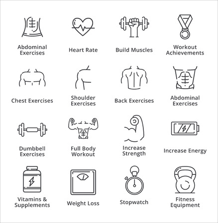 Healthy Lifestyle - Workout Icons - Outline Series 矢量图像