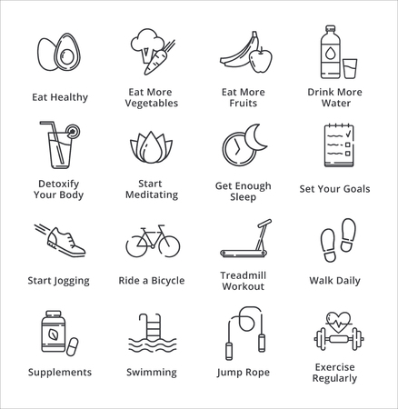 lifestyle: Healthy Lifestyle Icons - Outline Series