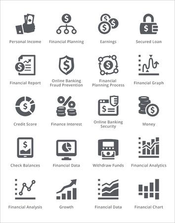 ganancias: Personales y de negocios iconos de las finanzas Conjunto 5 - Sympa Series