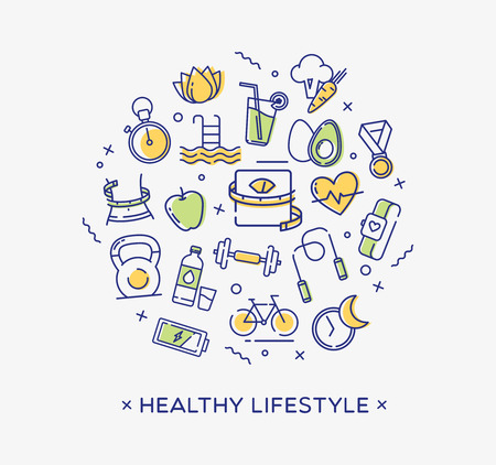 Healthy lifestyle conceptual image, dieting, fitness and nutrition. 矢量图像