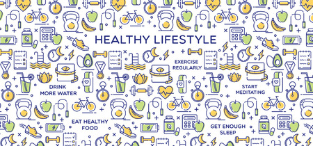 Healthy lifestyle vector illustration, dieting, fitness and nutrition.