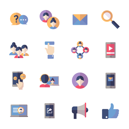 Social Media Icons Set 1 - Flat Series 矢量图像