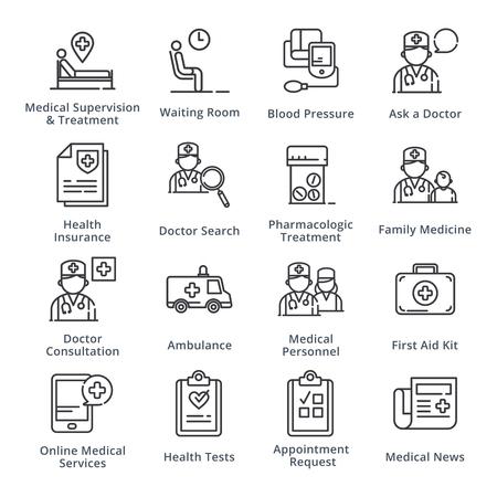 黒の医療・ ヘルスケア アイコン セット 2 概要シリーズ  イラスト・ベクター素材