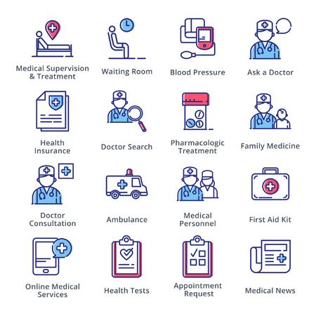 医療・健康管理のアイコンを設定 2 - 概要シリーズ  イラスト・ベクター素材