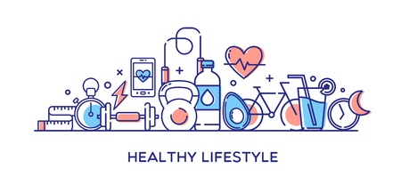 Healthy lifestyle illustration.