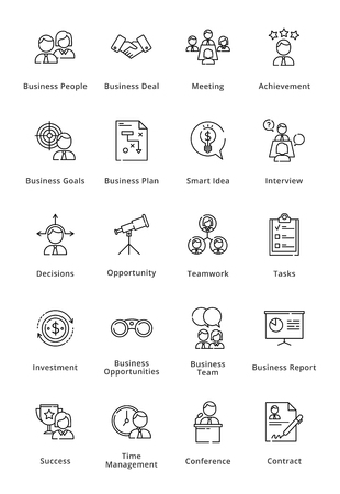 Black Business Icons - Outline Series