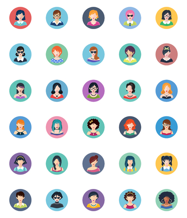 Women avatars flat icons.