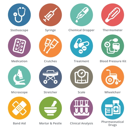 Medical equipment icons. 矢量图像