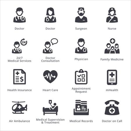Zwarte medische diensten pictogram.