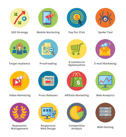 SEO and Internet marketing icons set on white background, vector illustration.