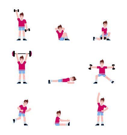 Man doing a series of exercises. 矢量图像