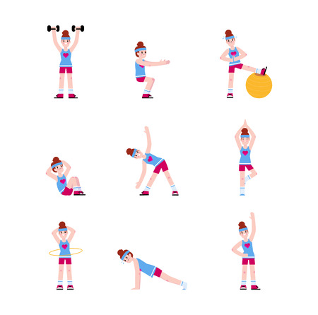 Woman doing a series of exercises. 矢量图像