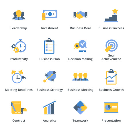 Iconos de negocios planos