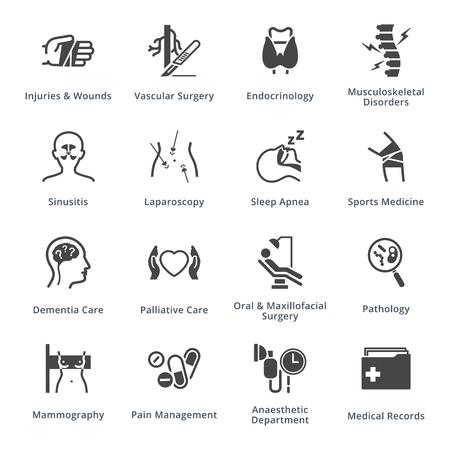 Set di icone di specialità e servizi medici 5 - serie nera