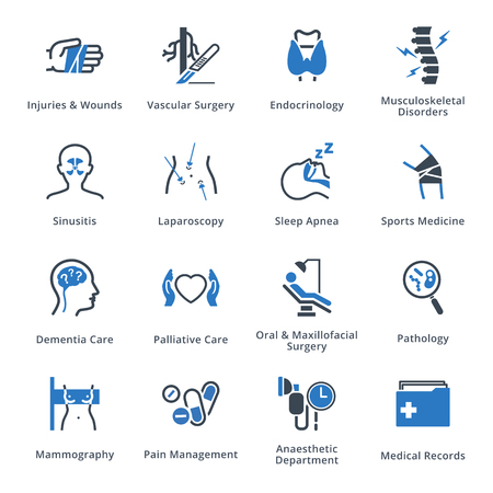 Set di icone di specialità e servizi medici 5 - serie blu