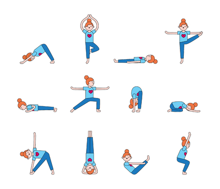 Girl Practicing Yoga. Yoga Poses & Exercises. Healthy Lifestyle.