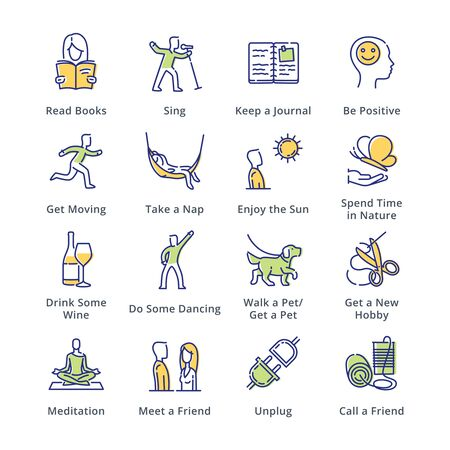 Stress Relievers Icons - Outline Series Illustration