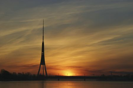 Riga TV Towers Silhouette  in morning, sunrise. photo