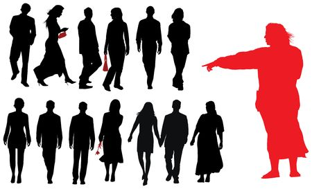 Group of young adults. Vector silhouette