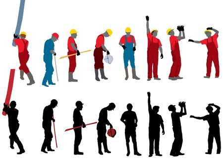 group of workers: Team of Construction workers Vector silhouette Stock Photo