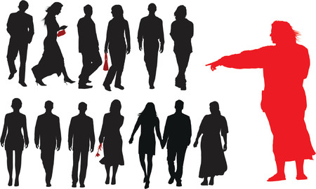 Group of young adults. Vector silhouette Vector