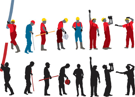 workers: Team of Construction workers Vector silhouette Illustration