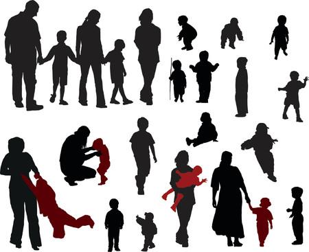 nenes jugando: Siluetas del vector de la familia (madre, padre, muchachos y muchachas) Vectores