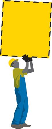 Construction Worker holding Memo Poster (vector) Vector