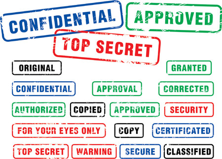 validity: Various security rubber stamps (top secret, confidental etc.)